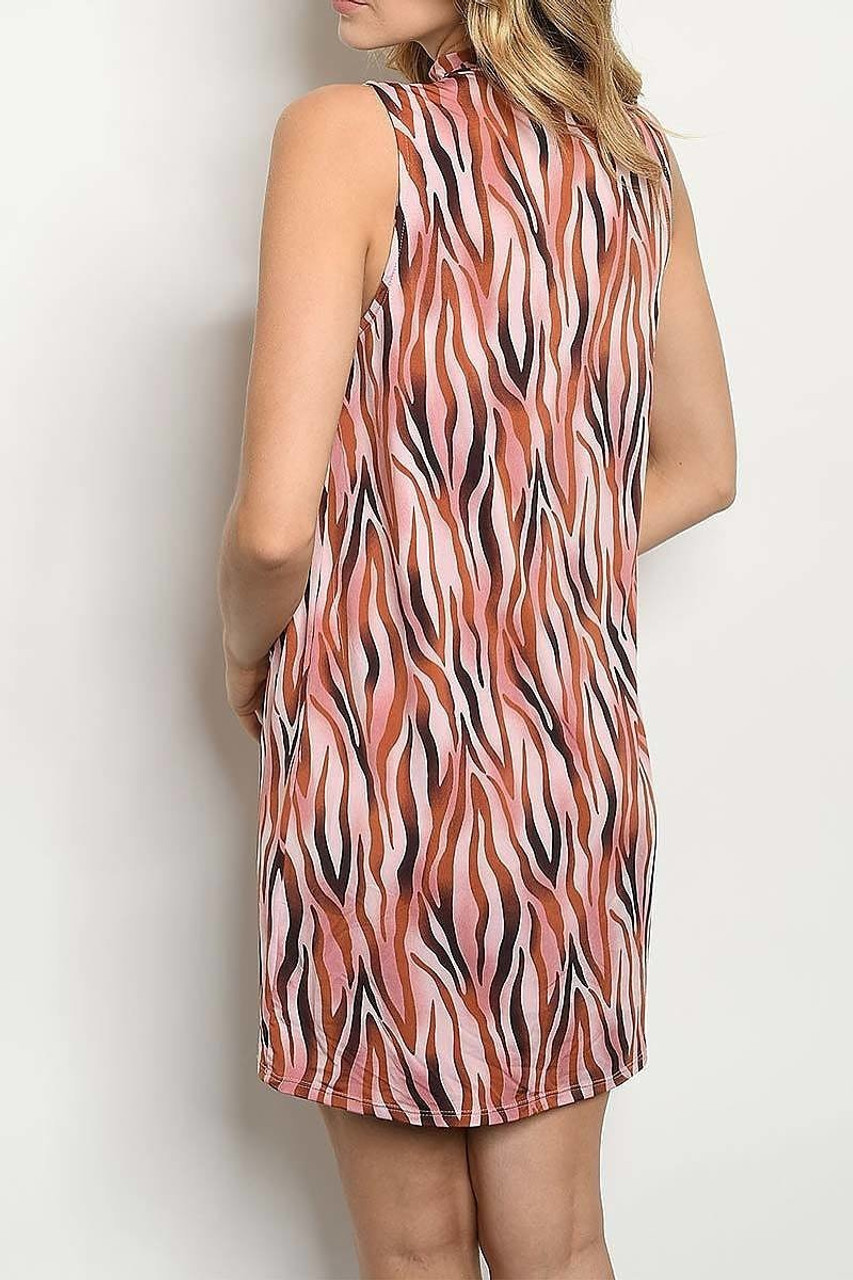 Back of Sleeveless Mock Neck Blush Zebra Print Mini Shift Dress