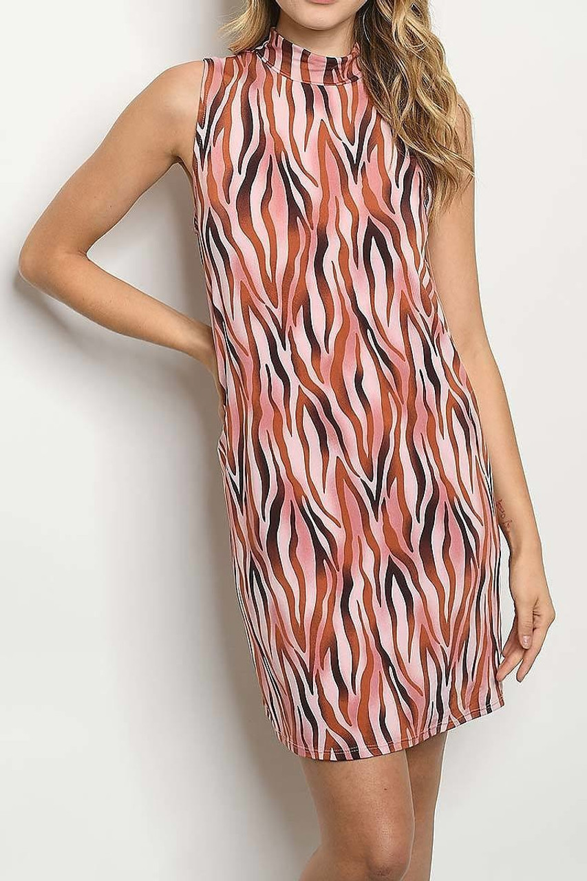 Front of Sleeveless Mock Neck Blush Zebra Print Mini Shift Dress with a sassy striped animal design and a retro cut.