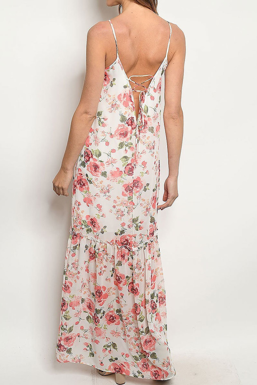Back of Low V Crisscross Back Rose Print Maxi Dress with Spaghetti Straps