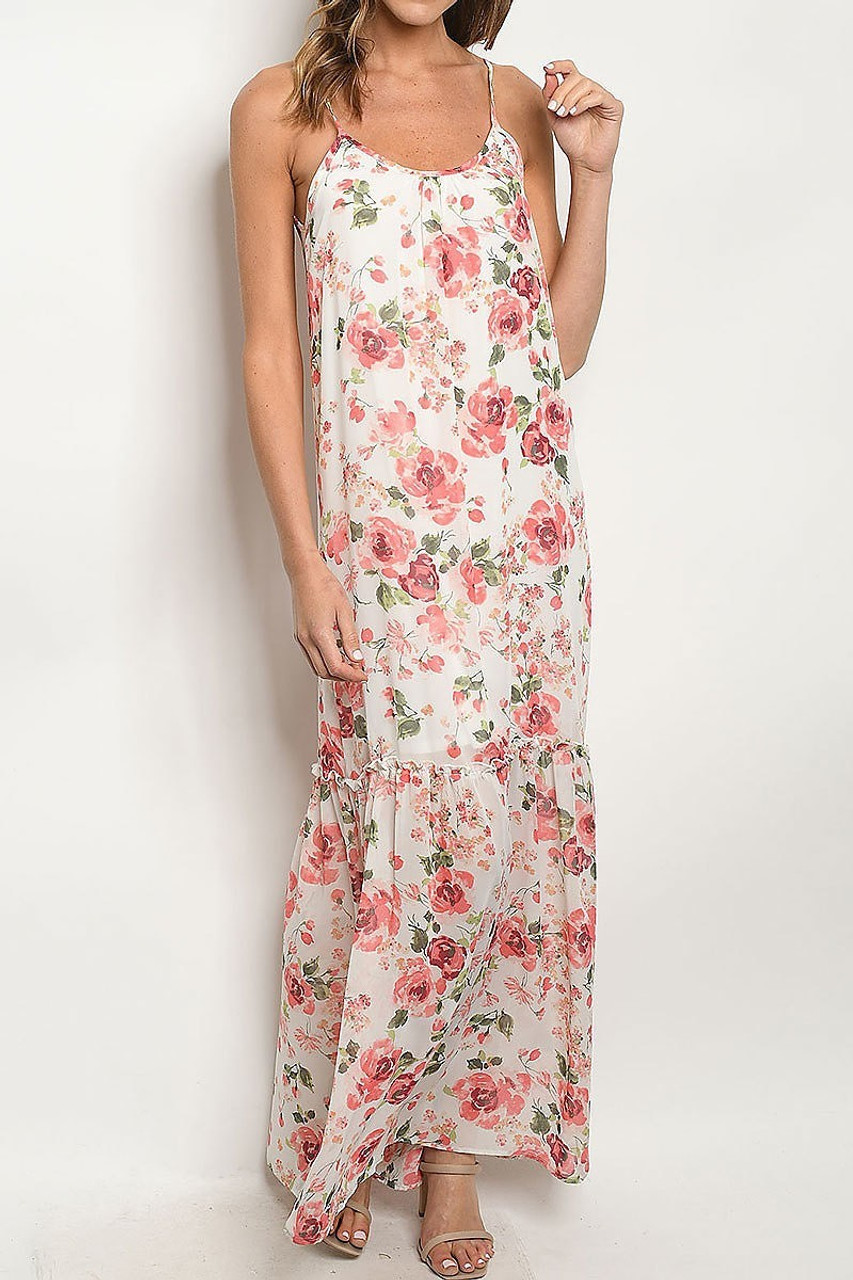 Front of Low V Crisscross Back Rose Print Maxi Dress with Spaghetti Straps and a gorgeous ruffle tiered hem.