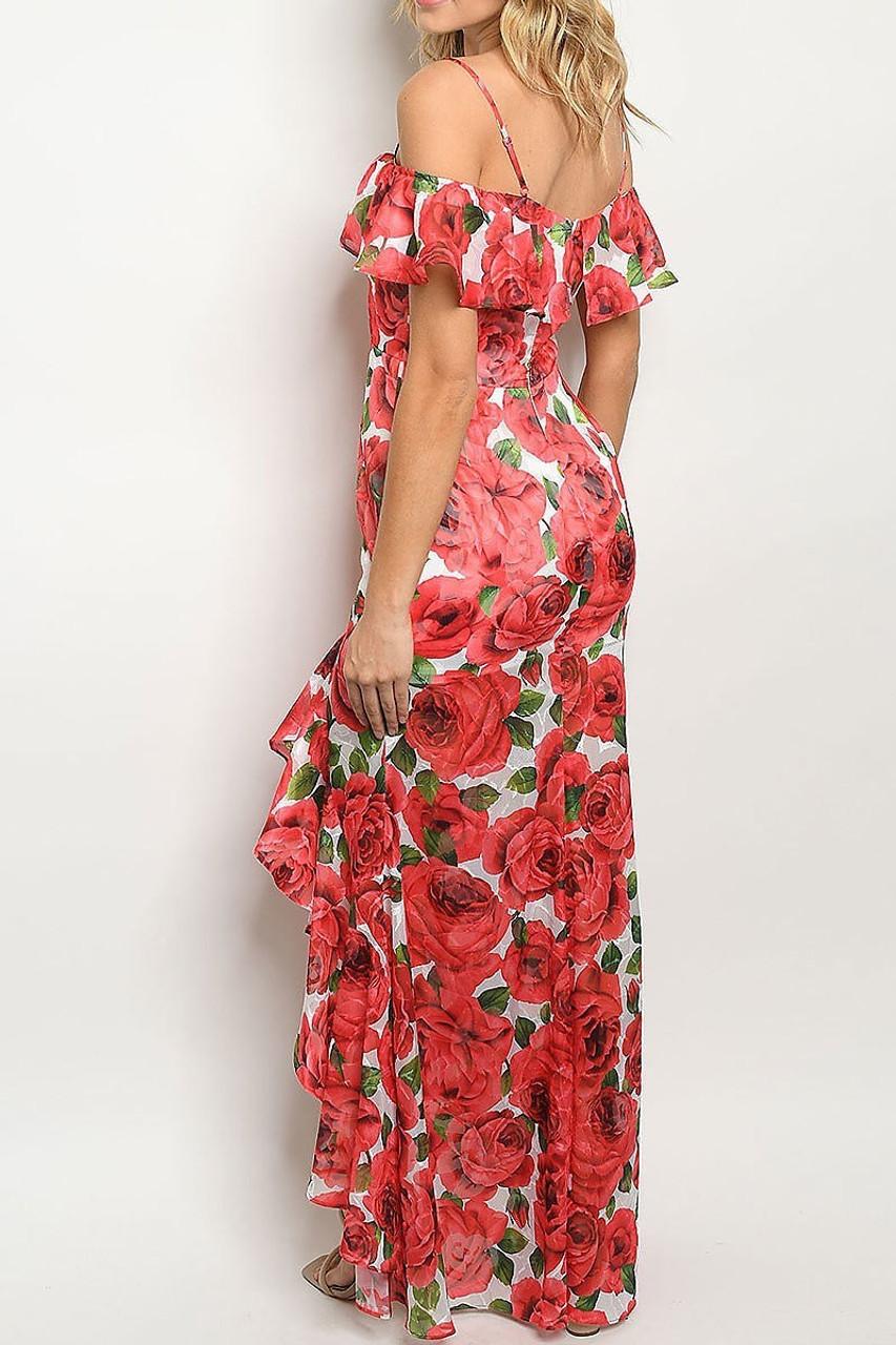 Back of Red Off the Shoulder Rose Print Hi-Low Maxi Dress
