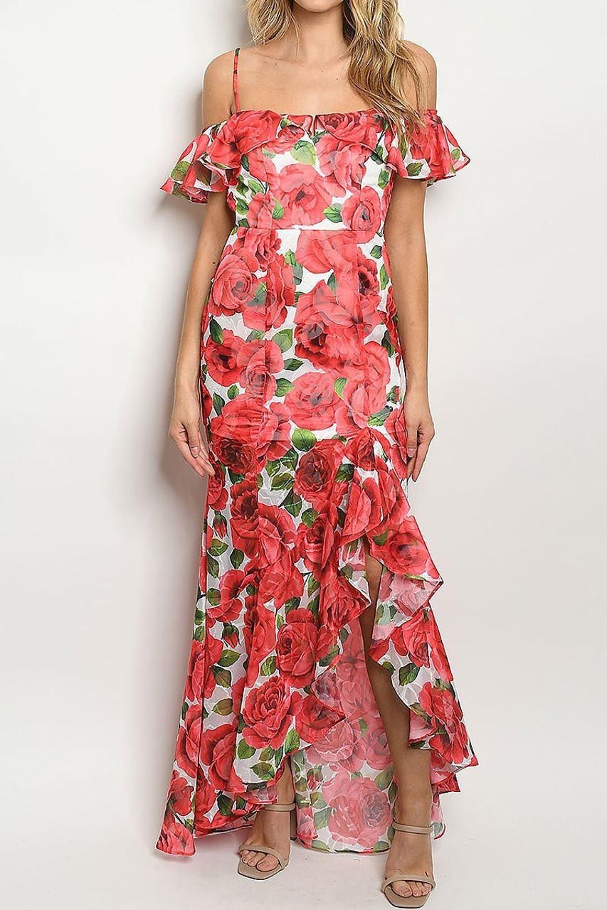Front of Red Off the Shoulder Rose Print Hi-Low Maxi Dress