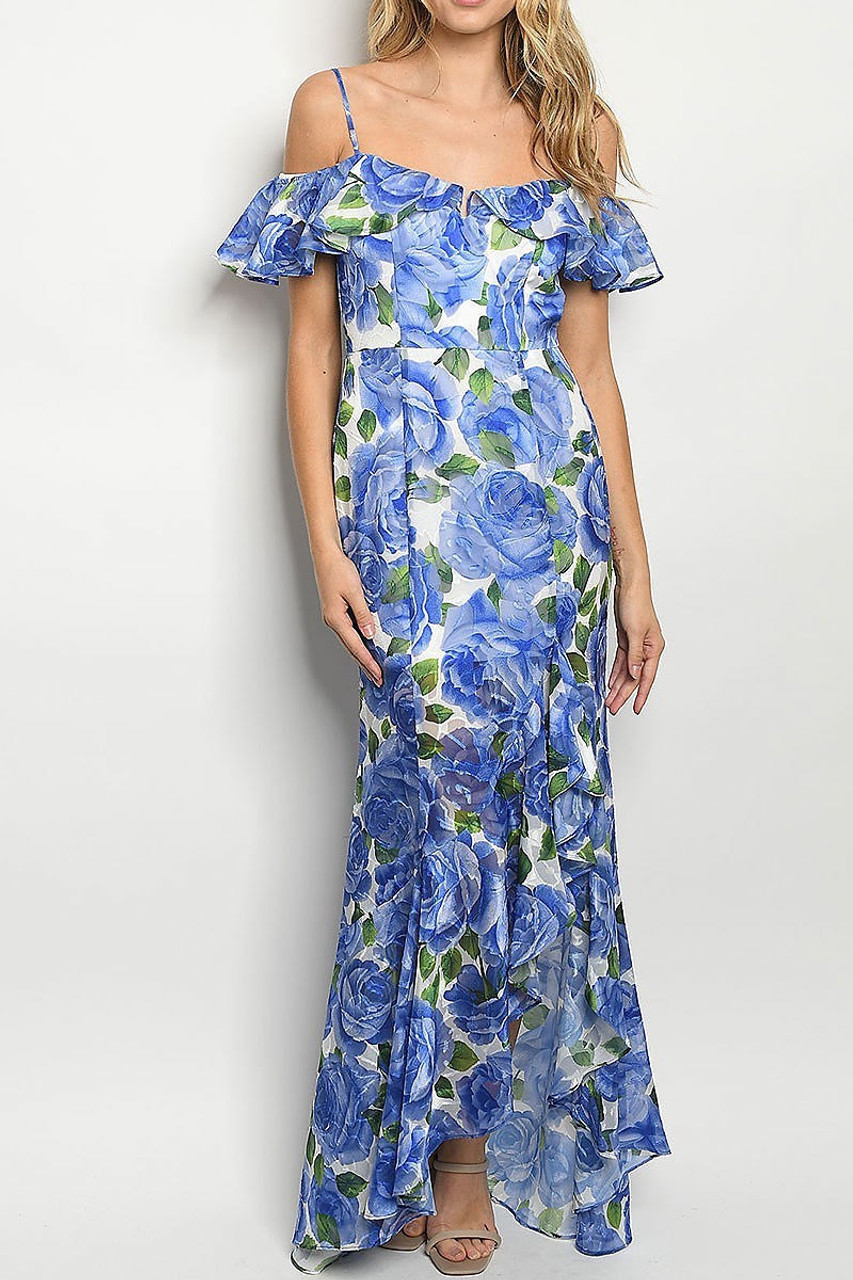 Front of Royal Blue Off the Shoulder Rose Print Hi-Low Maxi Dress