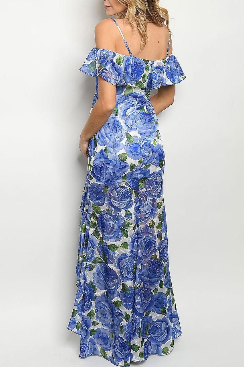 Back of Royal Blue Off the Shoulder Rose Print Hi-Low Maxi Dress