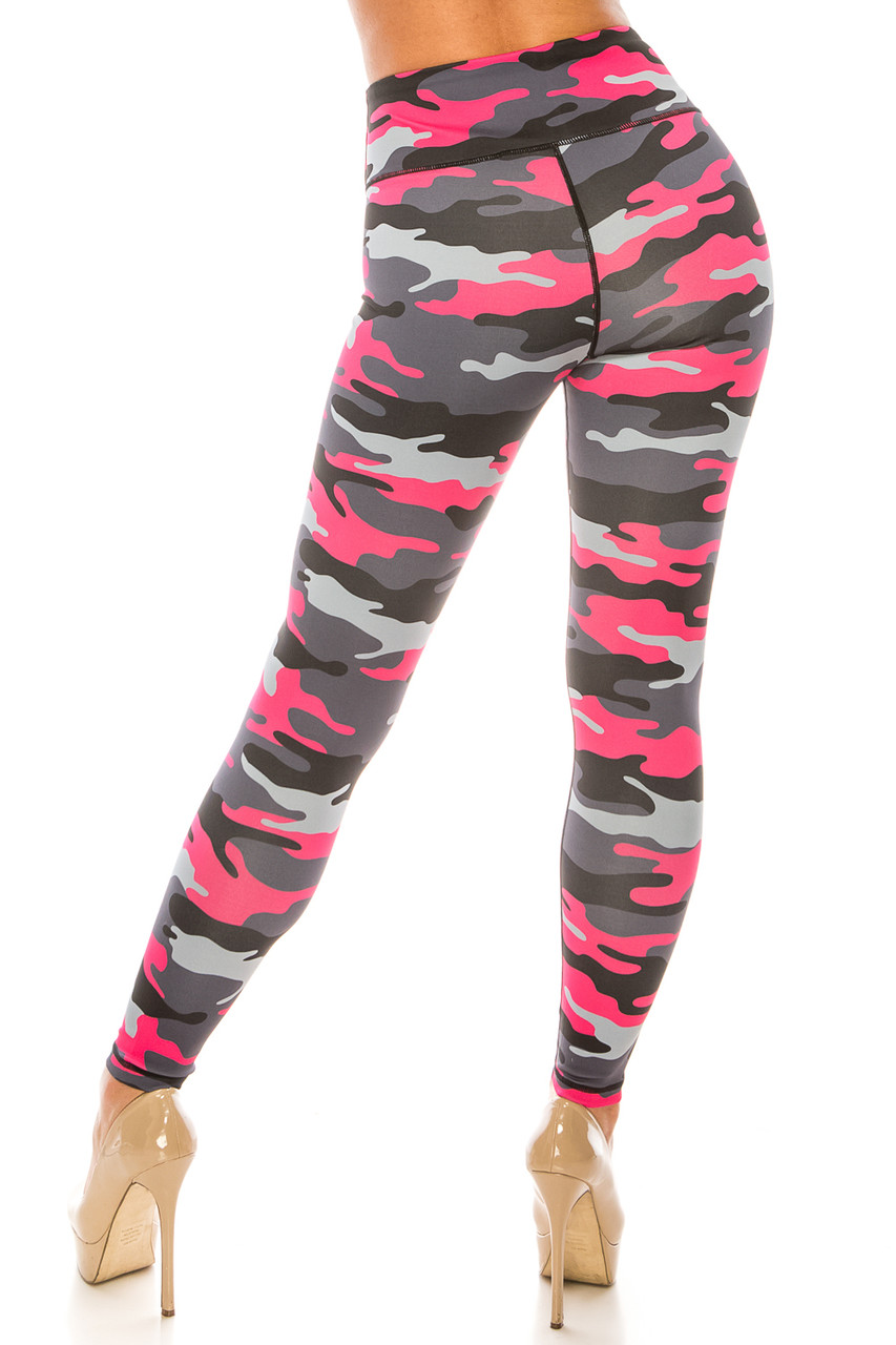 Back side image of Pink Camouflage Sport Active Plus Size Leggings