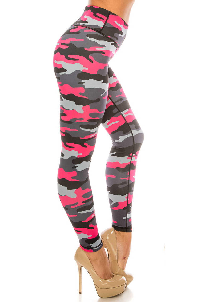 Right side of Pink Camouflage Sport Active Plus Size Leggings