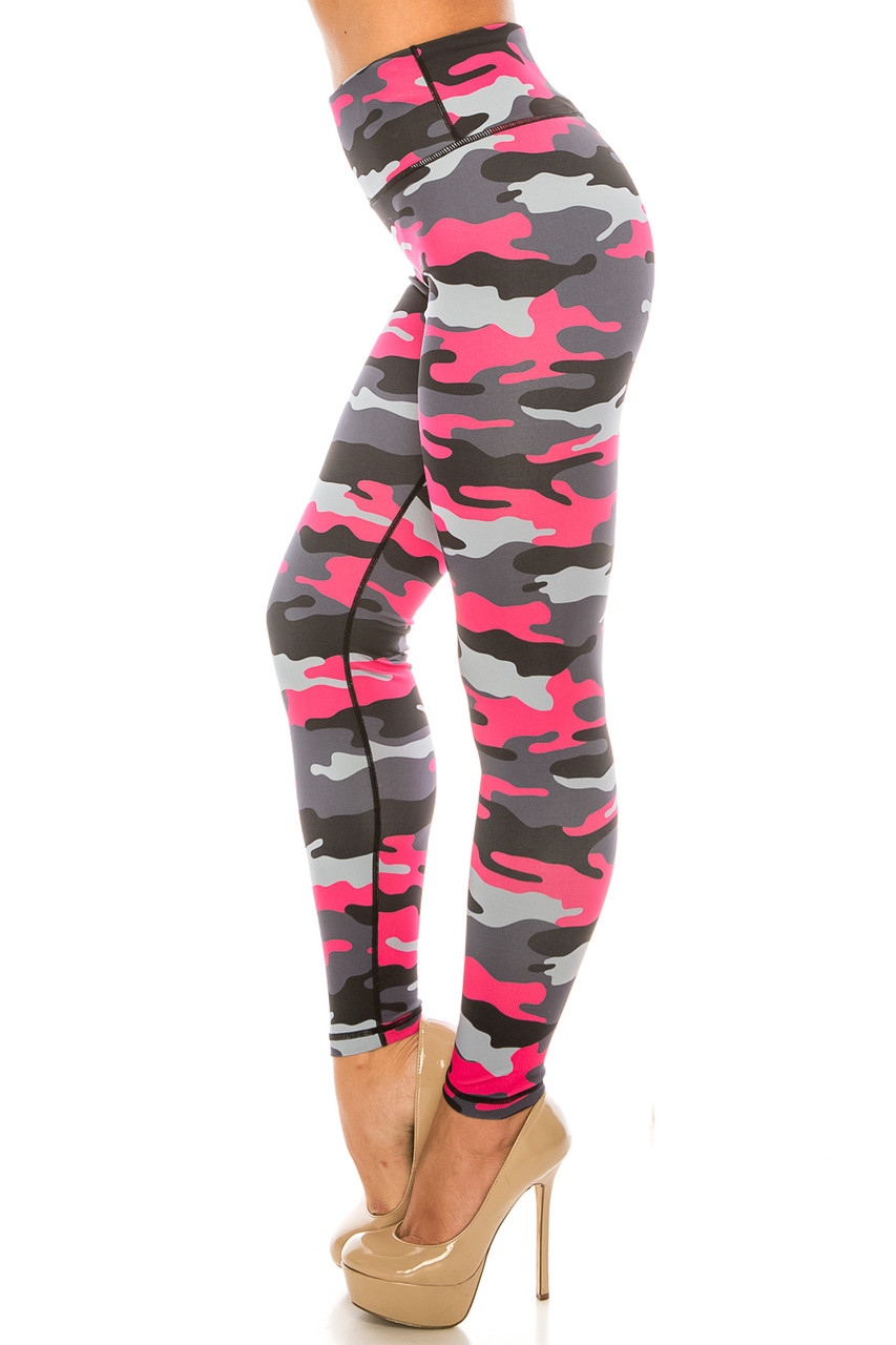 Left side of Pink Camouflage Sport Active Plus Size Leggings