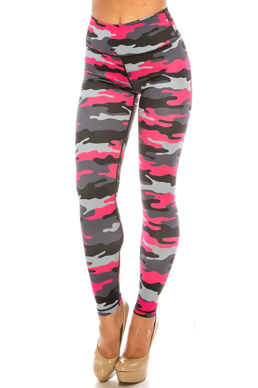45 degree view of Pink Camouflage Sport Active Plus Size Leggings