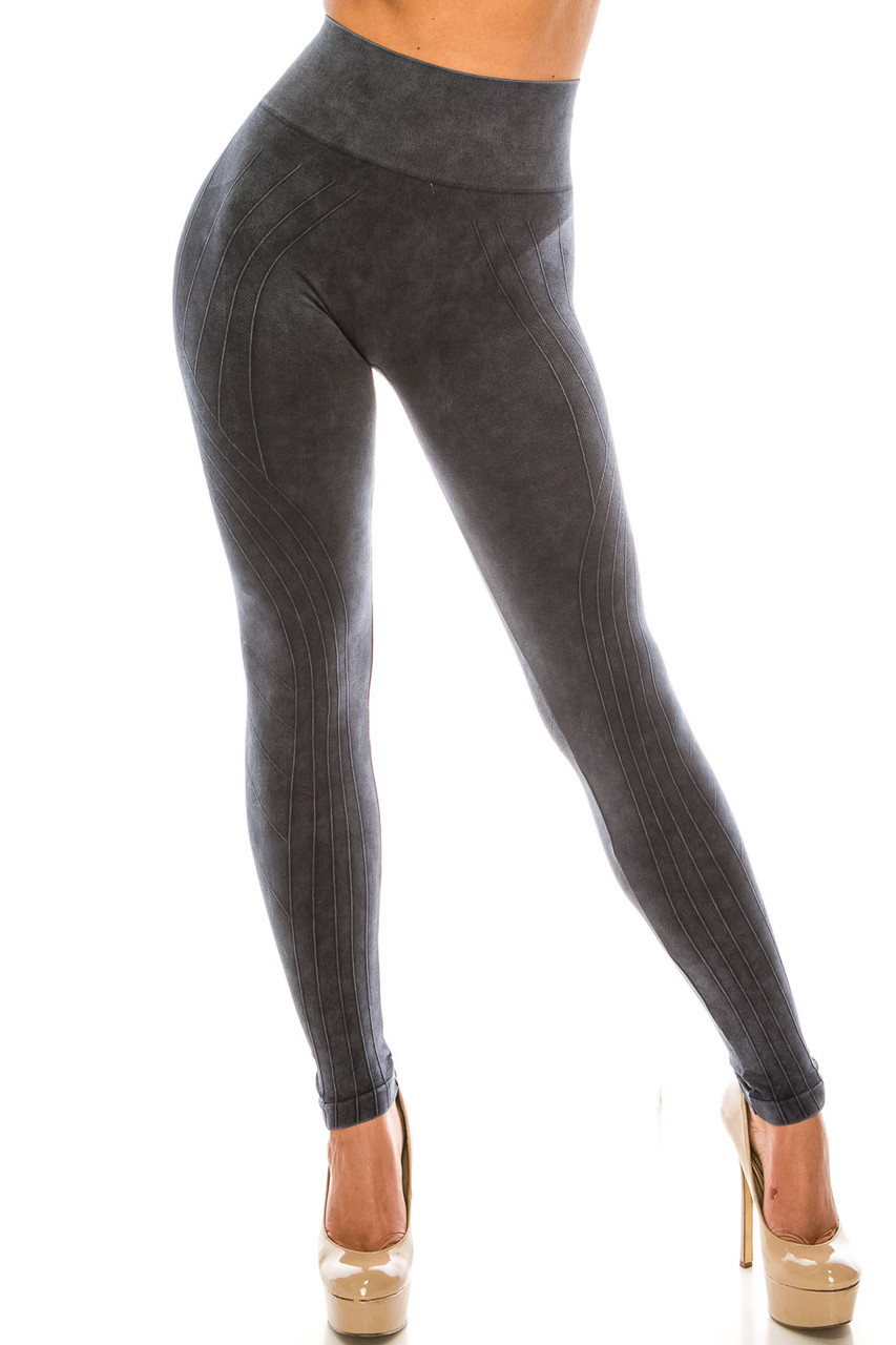 Front of Black Contouring Compression High Waisted Sport Leggings
