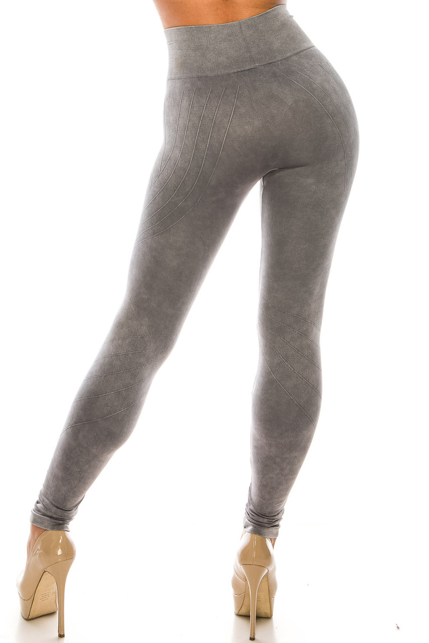 Back of Charcoal Contouring Compression High Waisted Sport Leggings