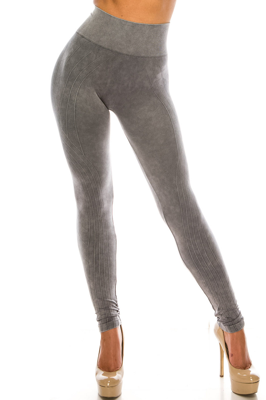 Front of Charcoal Contouring Compression High Waisted Sport Leggings