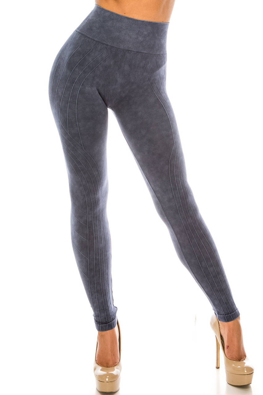 Front of Navy Contouring Compression High Waisted Sport Leggings