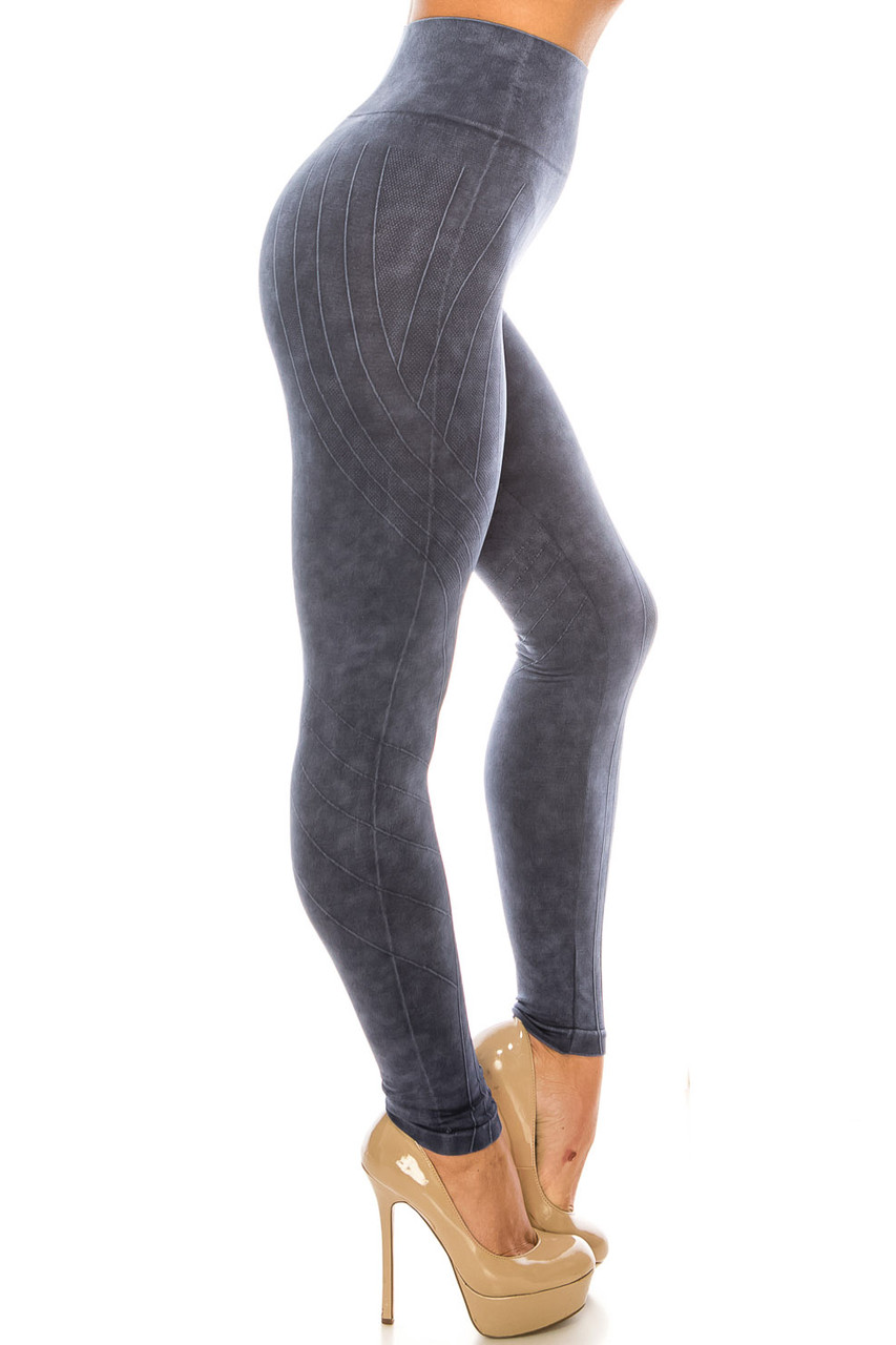 Right side of Navy Contouring Compression High Waisted Sport Leggings