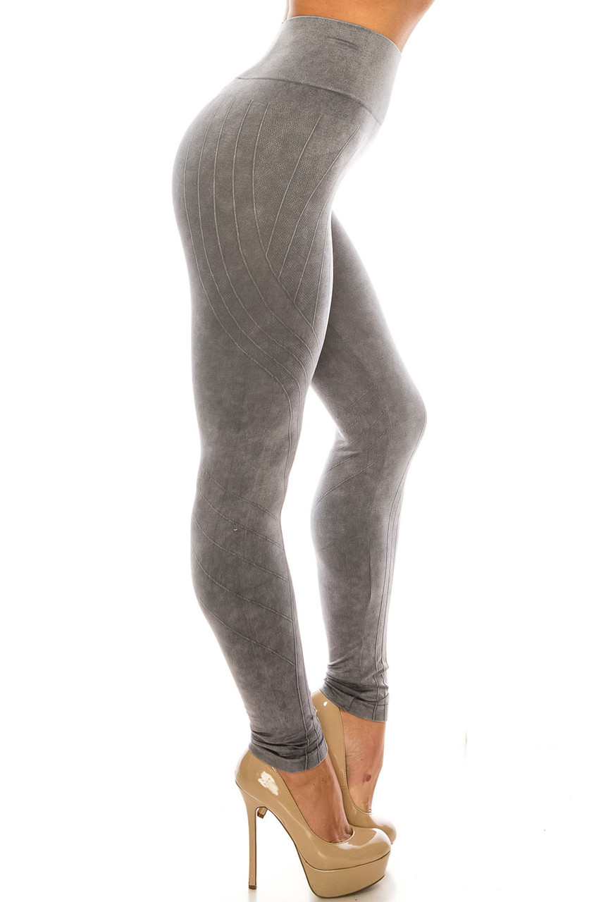 Right side of Charcoal Contouring Compression High Waisted Sport Leggings