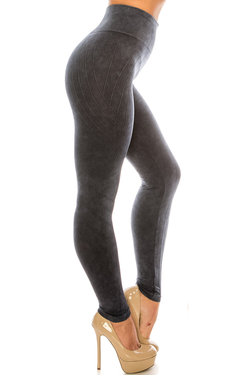 Right side of Black Contouring Compression High Waisted Sport Leggings