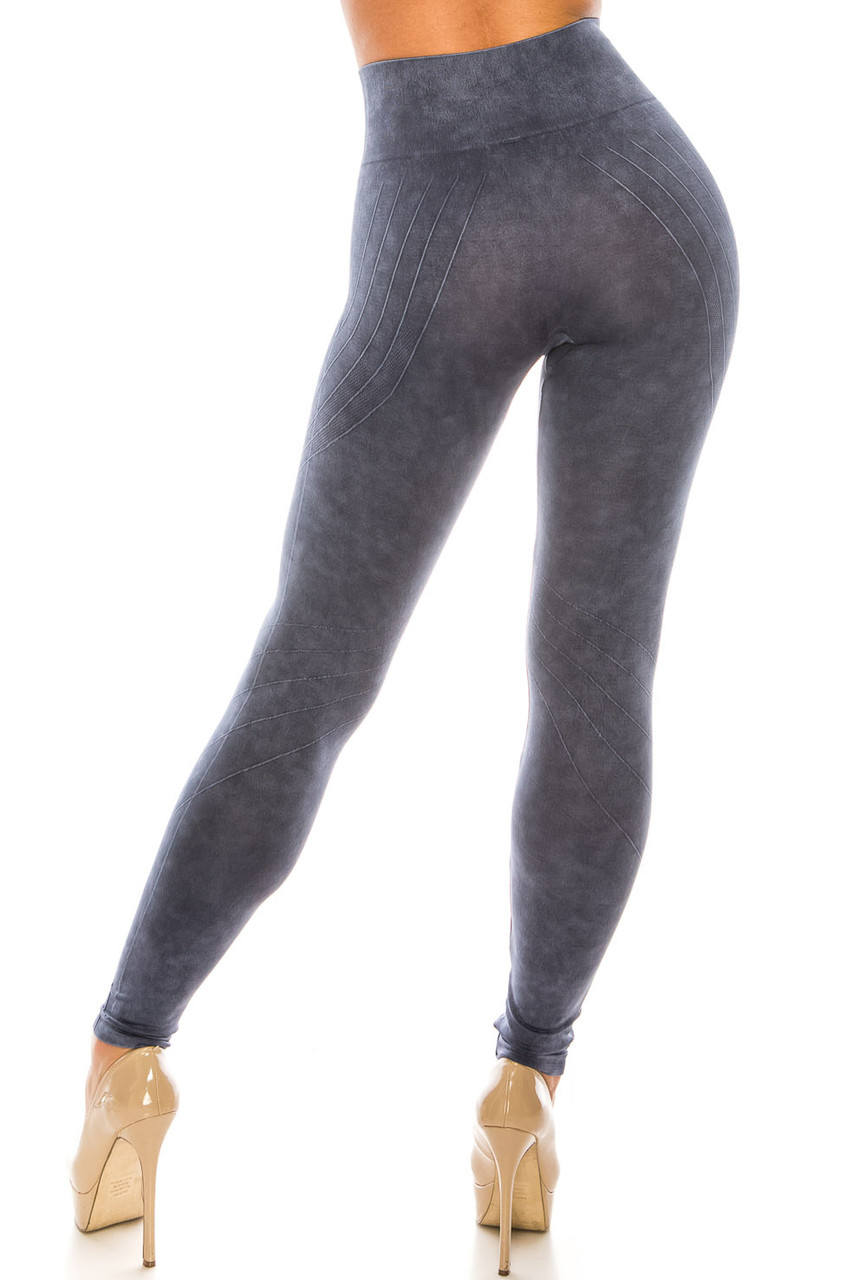 Back side image of Navy Contouring Compression High Waisted Sport Leggings