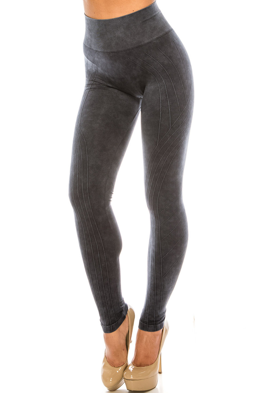 45 degree view of Black Contouring Compression High Waisted Sport Leggings