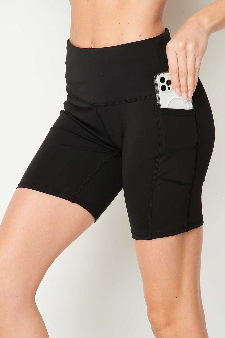 Black Sport High Waisted Biker Shorts showing off the phone-sized pocket.