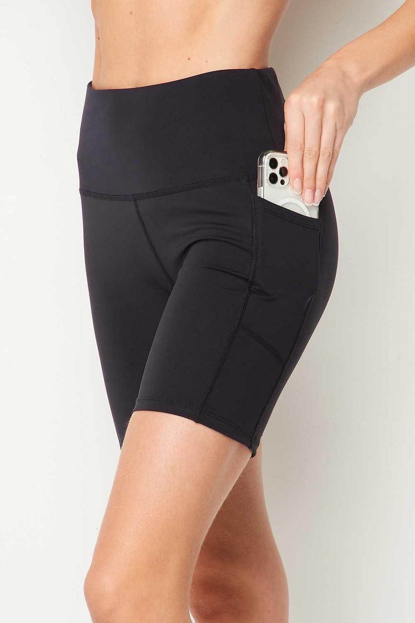 Charcoal Sport High Waisted Biker Shorts