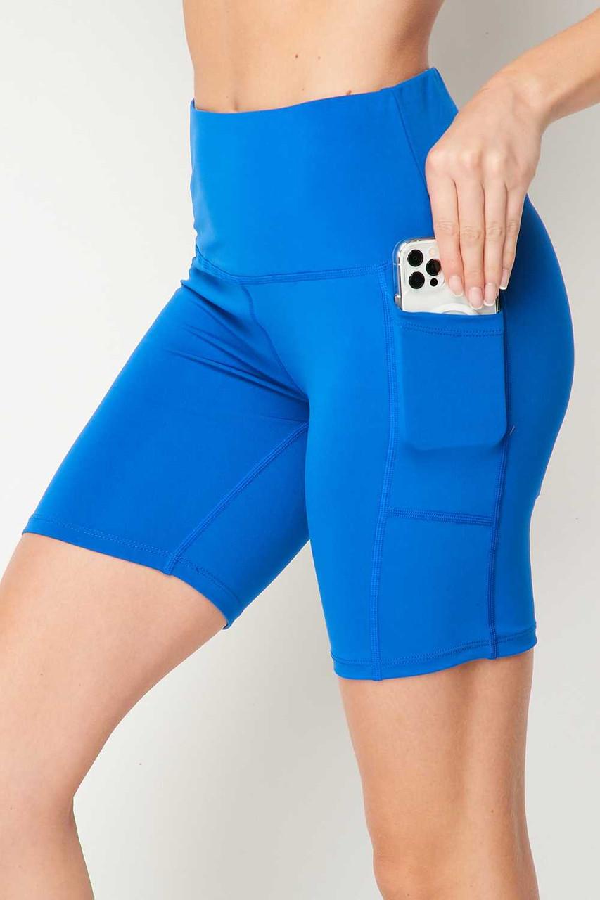 Blue Sport High Waisted Biker Shorts
