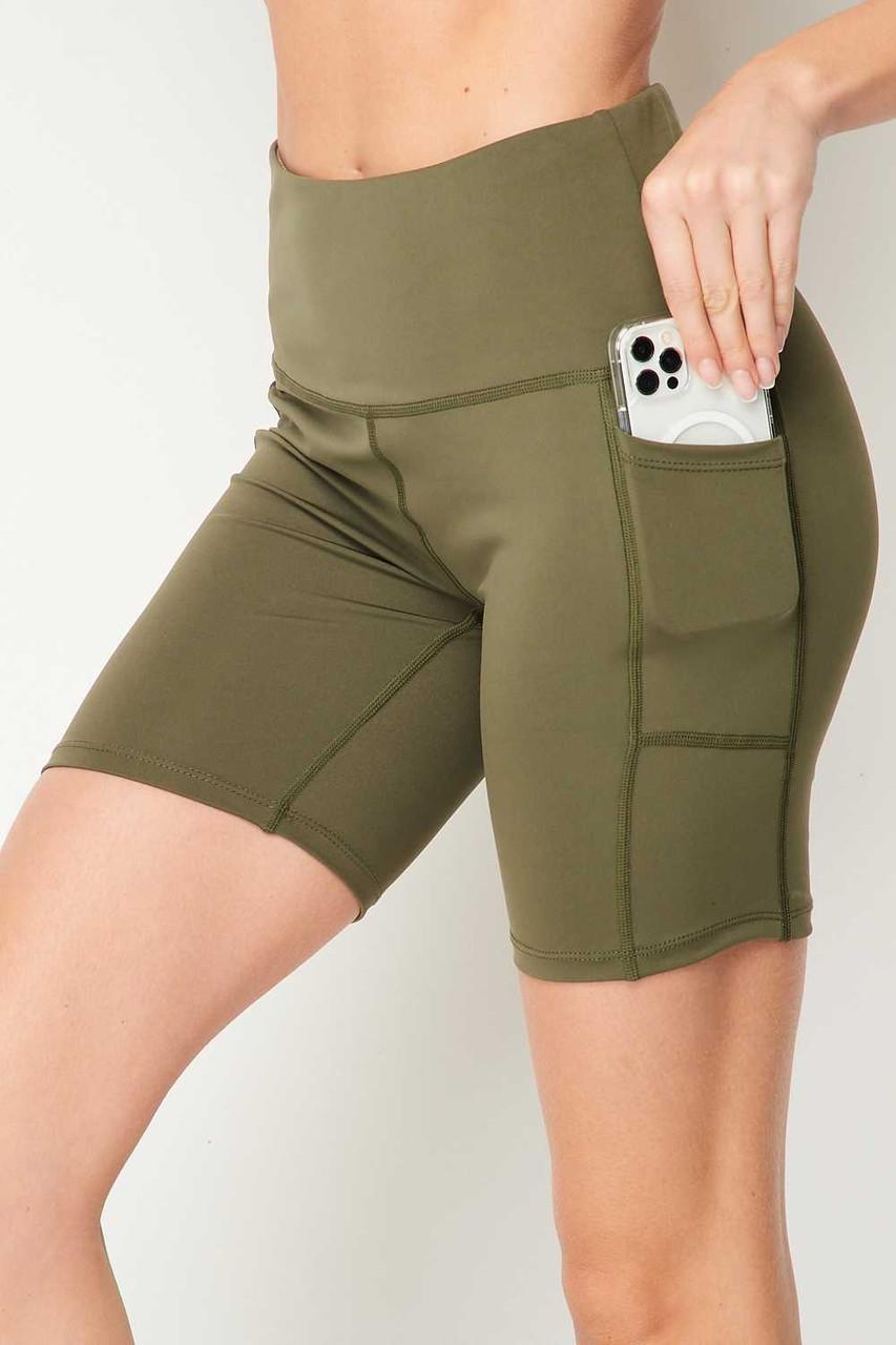 Olive Sport High Waisted Biker Shorts