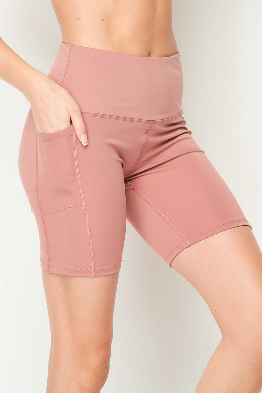 Right side of Mauve Sport High Waisted Biker Shorts