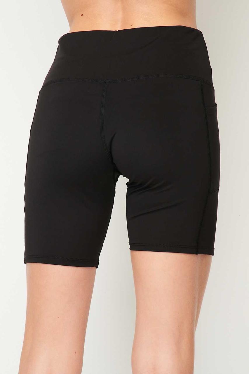 Back side image of Black Sport High Waisted Biker Shorts