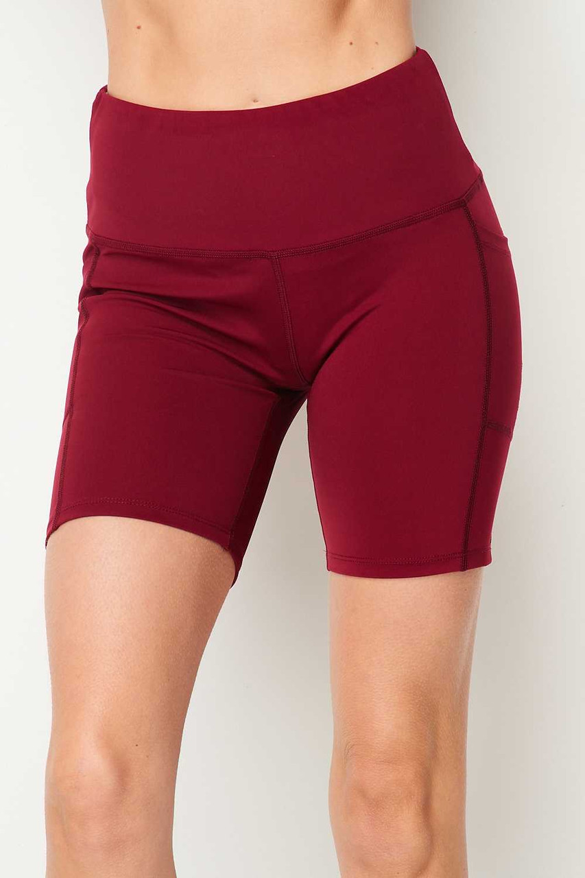 Front side image of Burgundy Sport High Waisted Biker Shorts