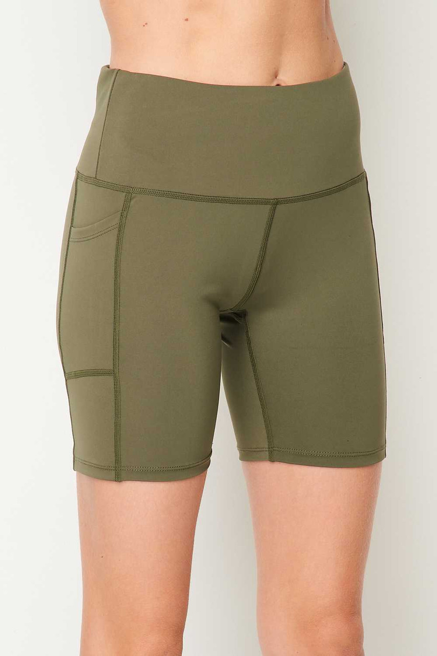 45 degree view of Olive Sport High Waisted Biker Shorts