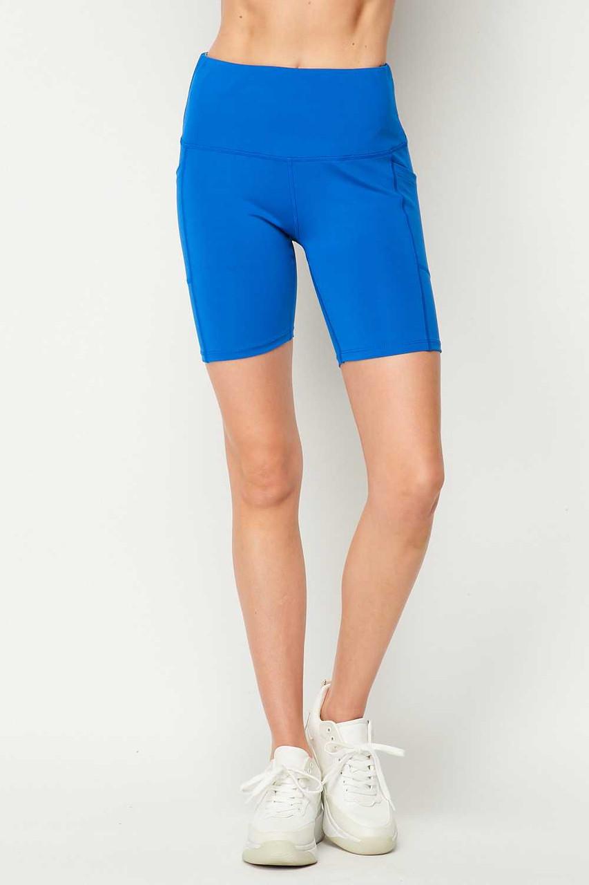 Front side image of Blue Sport High Waisted Biker Shorts