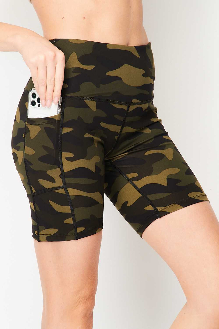 Right side of Sport High Waisted Camouflage Biker Shorts with a classic olive green army print design and a phone-sized pocket.