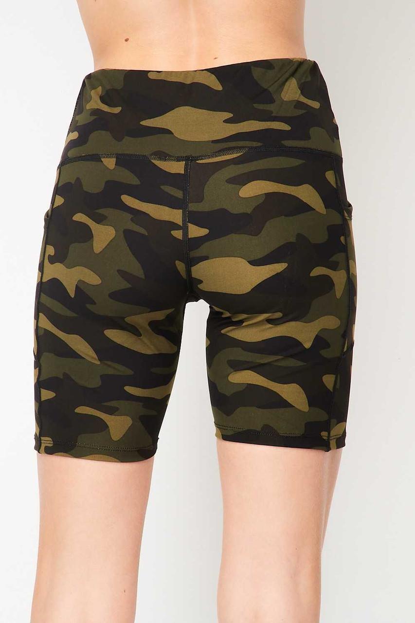 Back side image of Sport High Waisted Camouflage Biker Shorts