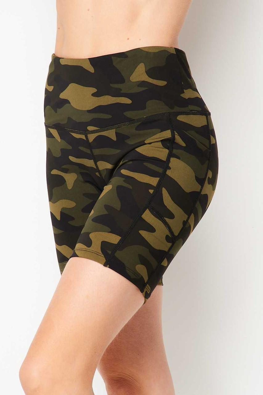 Left side image of Sport High Waisted Camouflage Biker Shorts