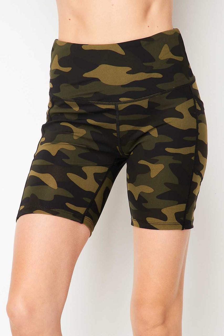 Front of Sport High Waisted Camouflage Biker Shorts