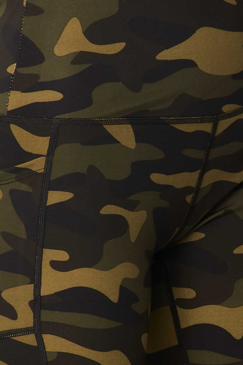 Close-up fabric swatch of Sport High Waisted Camouflage Biker Shorts