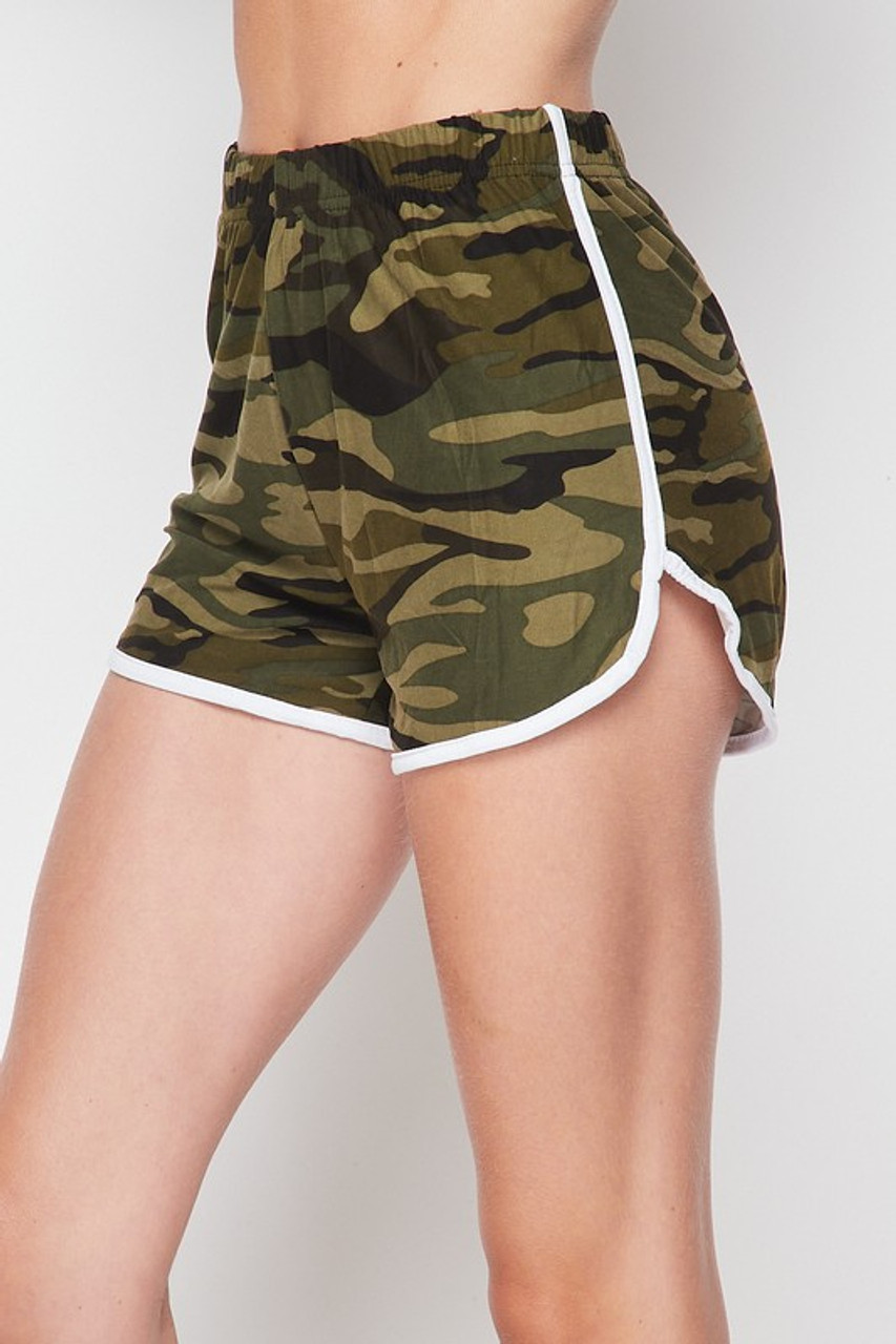 45 degree view of Buttery Soft Green and White Camouflage Dolphin Shorts