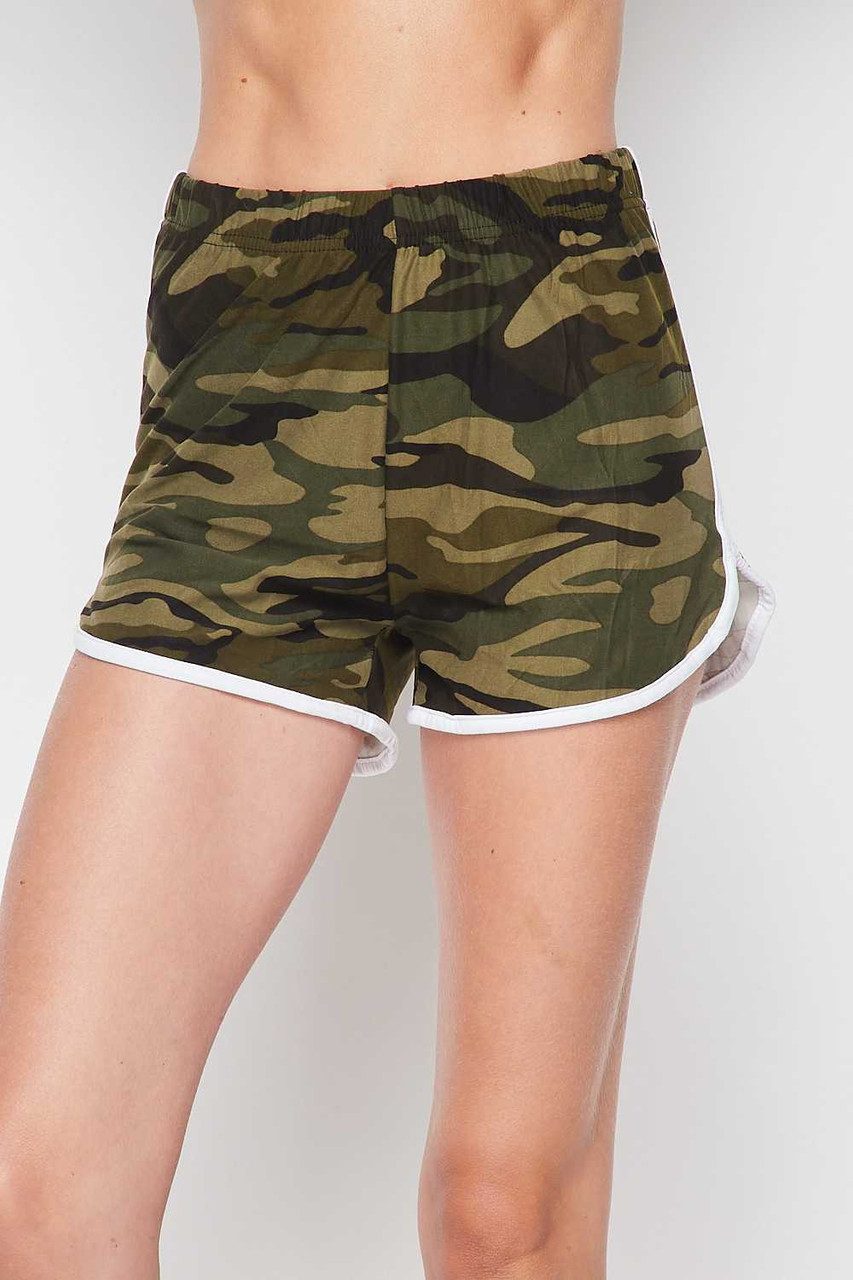 Front side image of Buttery Soft Green and White Camouflage Dolphin Shorts