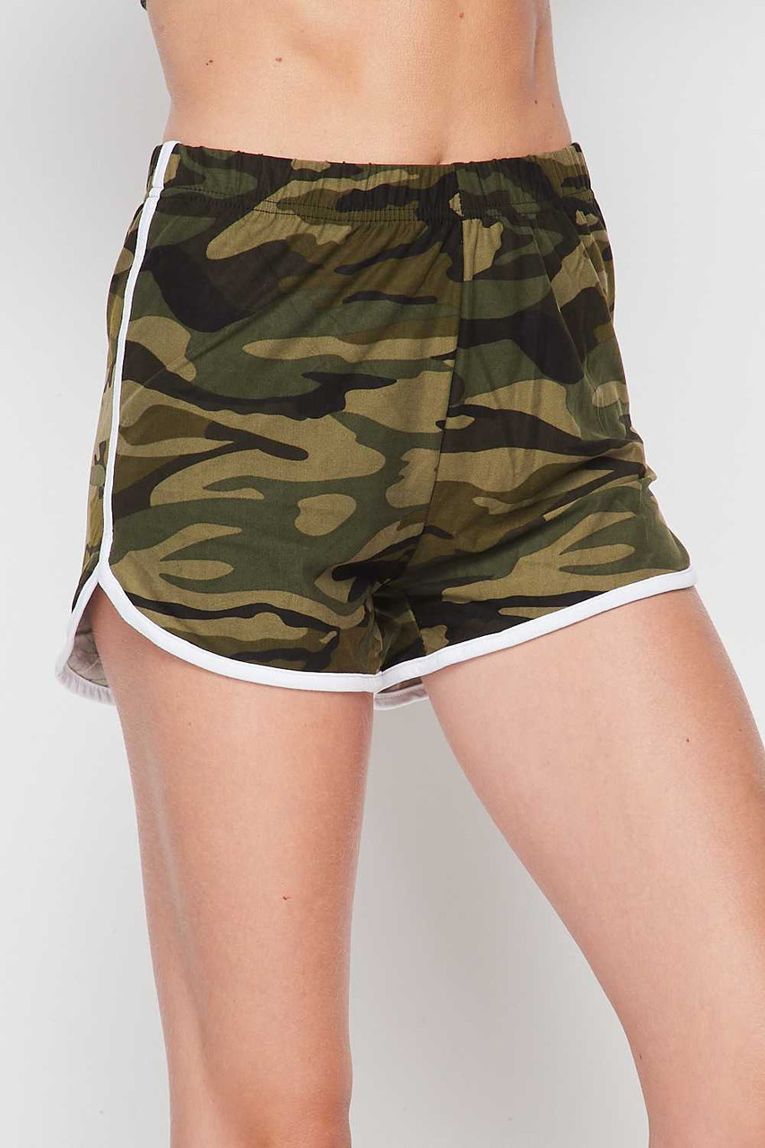 45 degree/right side of Buttery Soft Green and White Camouflage Dolphin Shorts
