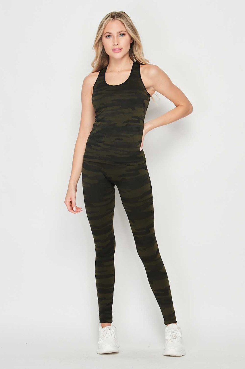 Front of 2 Piece Seamless Olive Camouflage Tank Top and Legging Set shown teamed with crisp white sneakers.