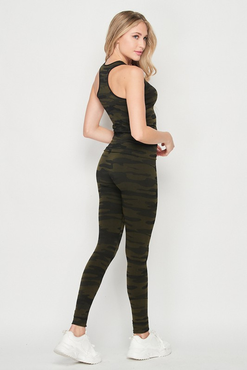 45 degree back/right side view of 2 Piece Seamless Olive Camouflage Tank Top and Legging Set