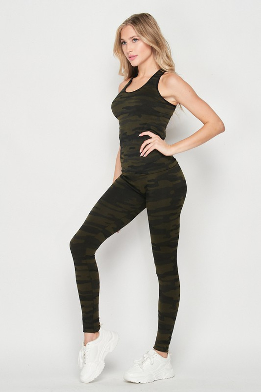 Left side of 2 Piece Seamless Olive Camouflage Tank Top and Legging Set