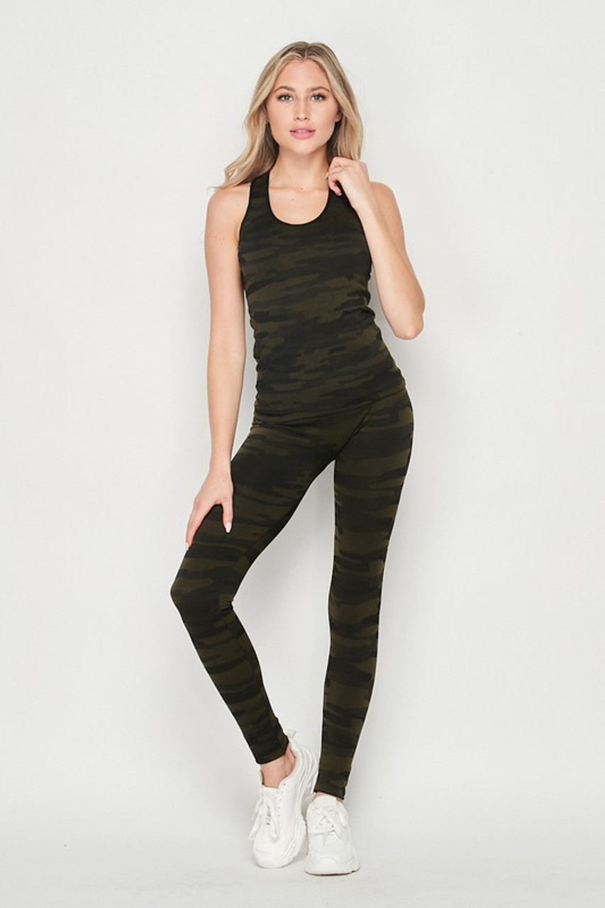 Front of 2 Piece Seamless Olive Camouflage Tank Top and Legging Set
