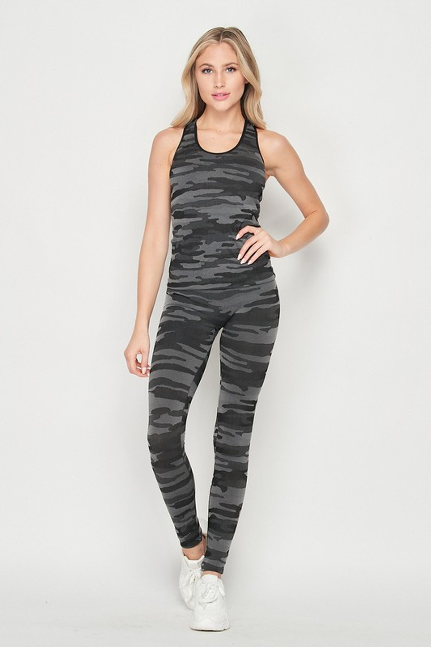 Front of 2 Piece Seamless Charcoal Camouflage Tank Top and Legging Set