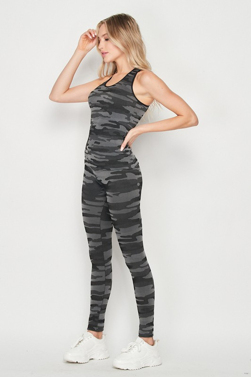 Left side of 2 Piece Seamless Charcoal Camouflage Tank Top and Legging Set