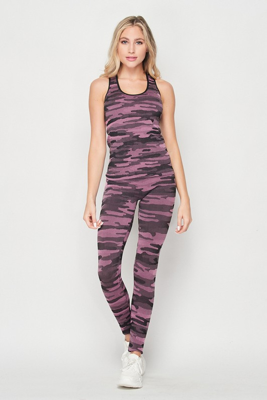 Front of Pink 2 Piece Seamless Pink Camouflage Tank Top and Legging Set