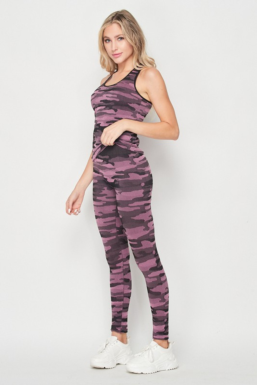 Left side of 2 Piece Seamless Pink Camouflage Tank Top and Legging Set