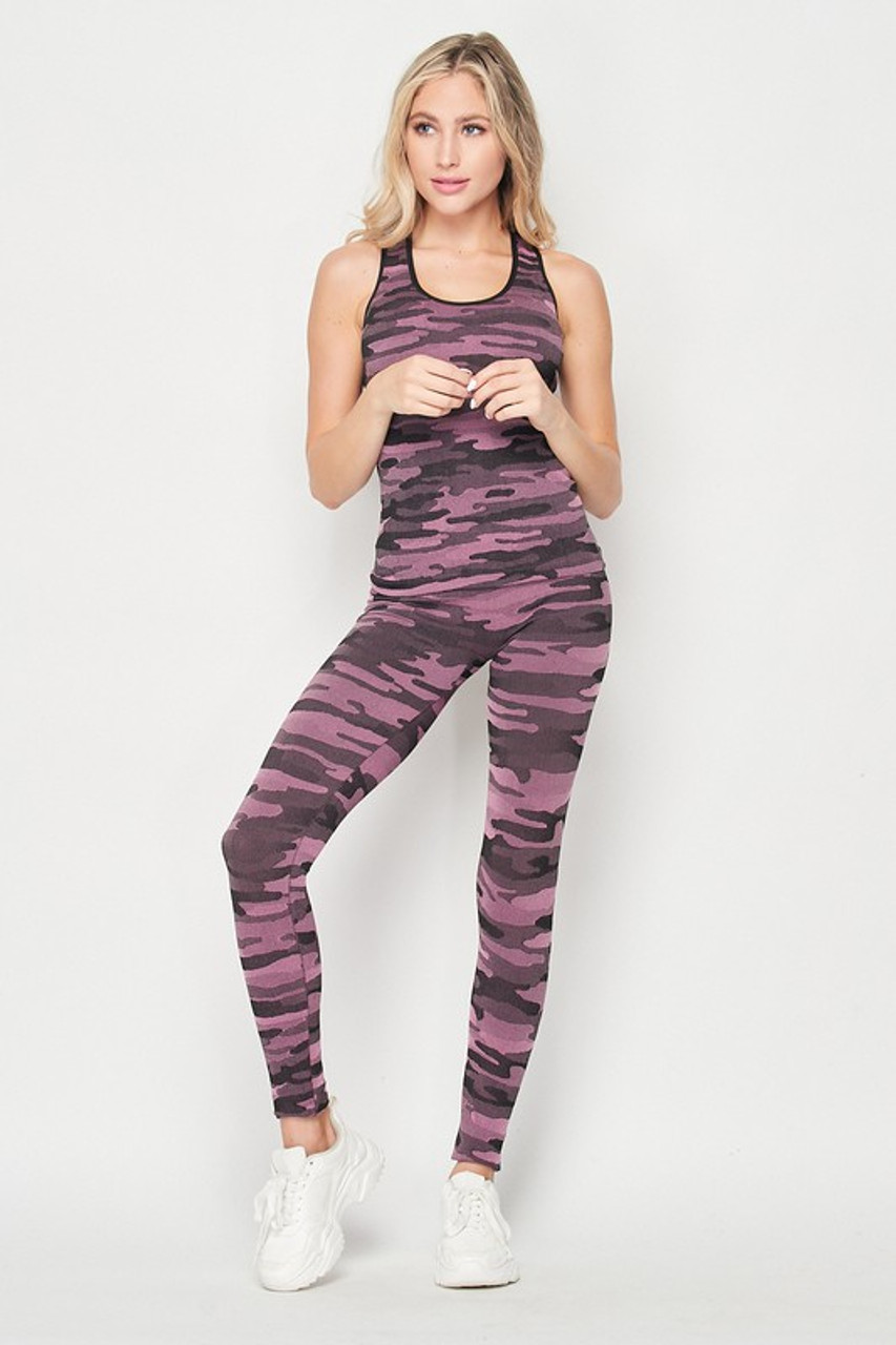 Front of 2 Piece Seamless Pink Camouflage Tank Top and Legging Set
