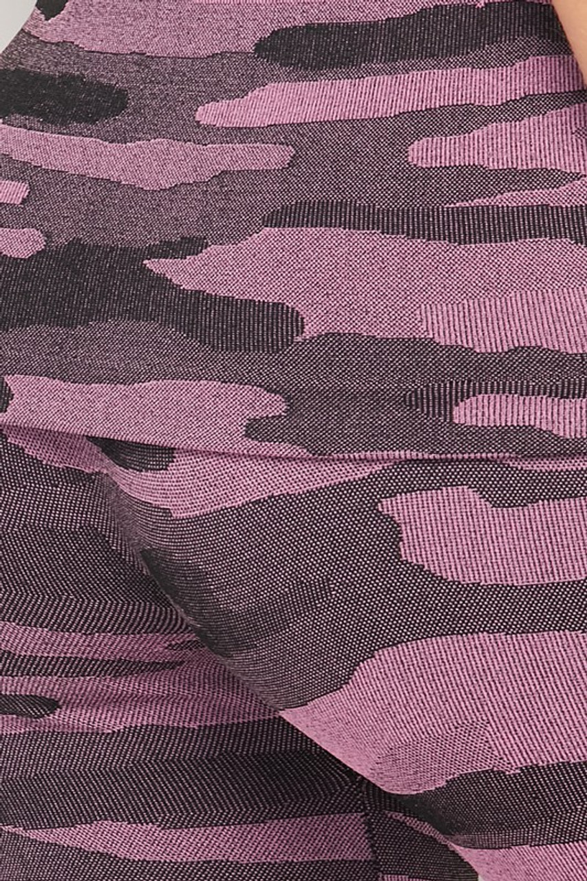Close-up of 2 Piece Seamless Pink Camouflage Tank Top and Legging Set