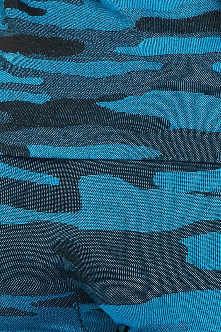 Close-up of 2 Piece Seamless Teal Camouflage Tank Top and Legging Set