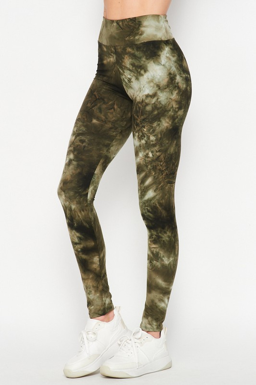 45 degree view of Olive Buttery Soft Tie Dye High Waisted Leggings